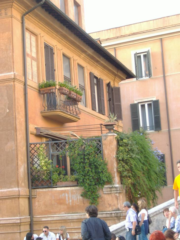 A balcony next to the steps. I guess I wouldn't like to do my gardening there...