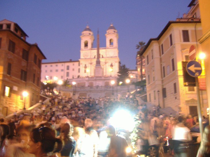 The Spanish Steps by night.