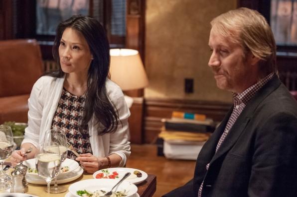 Joan and Mycroft at dinner