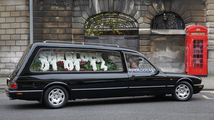 The empty hearse presenting the premiere date for Sherlock Series 3