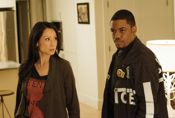 Joan and Detective Bell at the crime scene