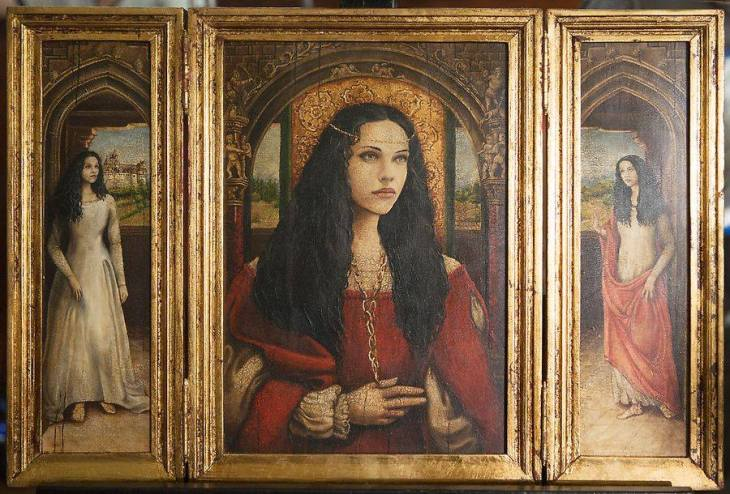 The triptych portraying Dracula's dead wife.
