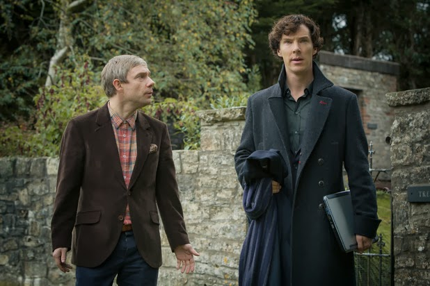 John and Sherlock outside of Sherlock's parents' house.