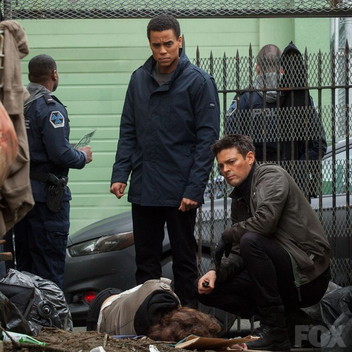 Dorian and John at the Straw Man's crime scene