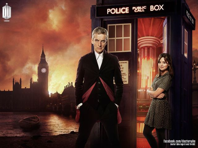 The Doctor and Clara against the backdrop of the TARDIS and London in flames.