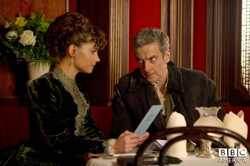 The Doctor and Clara at Mancini's restaurant.