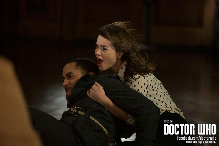 Danny and Clara hold on tight during the temporal disruption.