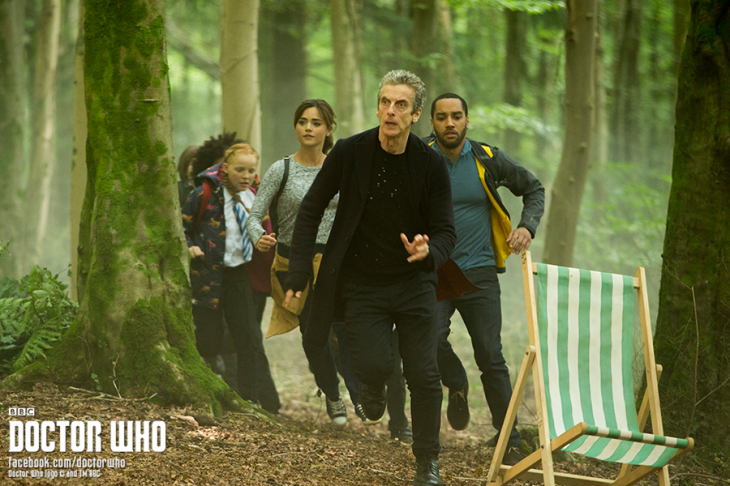 The Doctor, Clara, Danny, and the kids race through the brand new forest