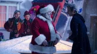 Nick Frost as Santa and Peter Capaldi as the Doctor
