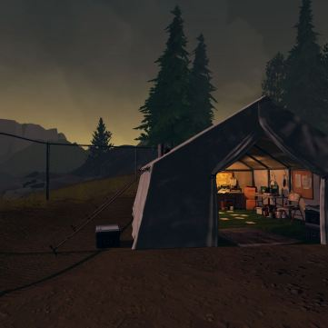 Firewatch screenshot Wapiti Station research tent