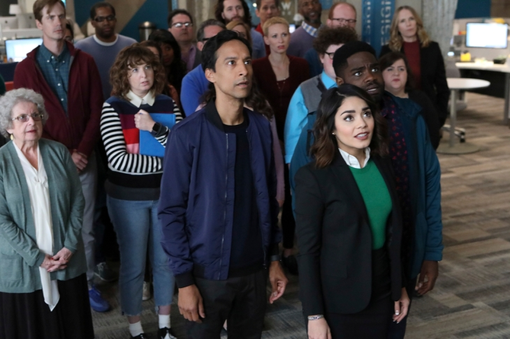 "POWERLESS -- ""Wayne or Lose"" Episode 102 -- Pictured: (l-r) Danny Pudi as Teddy, Vanessa Hudgens as Emily, Ron Funches as Ron -- (Photo by: Evans Vestal Ward/NBC)"