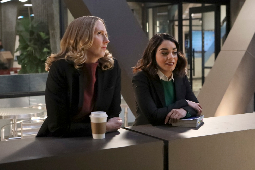 "POWERLESS -- ""Wayne or Lose"" Episode 102 -- Pictured: Chirstina Kirk as Jackie,Vanessa Hudgens as Emily -- (Photo by: Evans Vestal Ward/NBC)"
